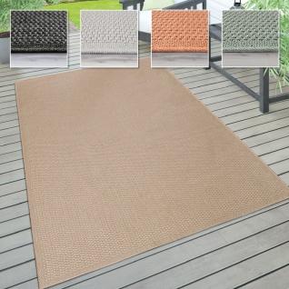 In- & Outdoor Teppich, Terrasse u. Balkon, Wetterfest Einfarbig Mit Struktur