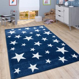 Kinder-Teppich Mit Stern-Muster, Kurzflor-Teppich Für Kinderzimmer, In Blau