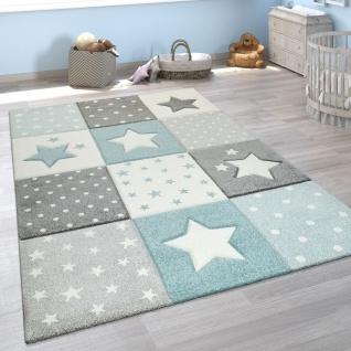 Kinder Teppich Blau Grau Pastellfarben Karo Muster Sterne Punkte 3-D Design - Vorschau 1