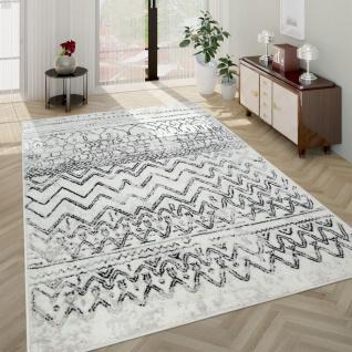Teppich Wohnzimmer Vintage Design Mit Skandi Muster Kurzflor , In Creme Grau