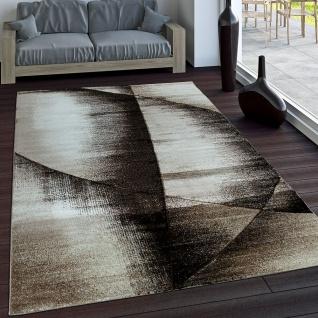 Edler Designer Teppich Kariert mit Konturenschnitt in Braun Beige Creme Meliert