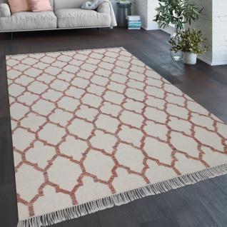 Teppich Wohnzimmer Marokkanisches Muster Fransen Handgewebt Wolle Beige Rot