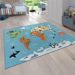 Kinder-Teppich Für Kinderzimmer, Spiel-Teppich, Weltkarte Mit Tieren, In Grün