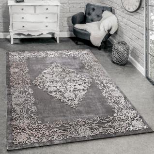 Designer Teppich Modern Wohnzimmer Teppiche 3D Barock Muster In Grau Beige Creme