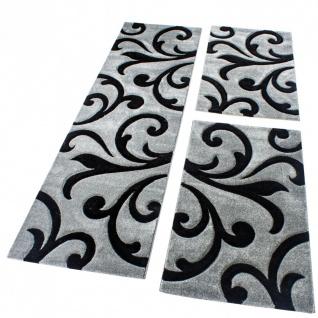 Bettumrandung Läufer Teppich Modern Ranken Muster Grau Schwarz Läuferset 3 Tlg.