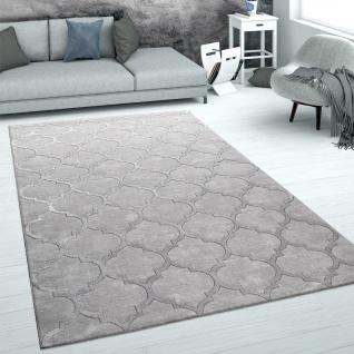 Teppich Wohnzimmer Kurzflor Marokkanisches Muster 3D Effekt Weich Grau Silber