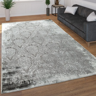 Moderner Kurzflor Wohnzimmer Teppich 3D Optik Orientalisches Muster In Grau