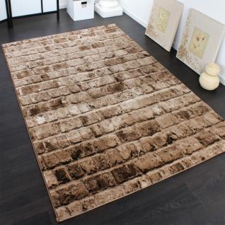 Edler Designer Teppich mit Steinwand Optik in Braun Beige Meliert