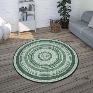 Runder In- & Outdoor-Teppich Mit Ethno-Design, Für Balkon Terrasse, In Grün