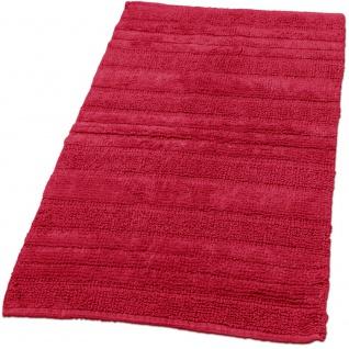 Badematte Badteppich Badezimmerteppich aus Baumwolle Einfarbig in Rot