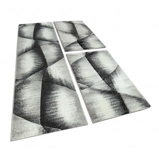 Läuferset Bettumrandung 3 Tlg Teppich Kariert mit Konturenschnitt Grau Schwarz