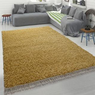 Hochflor Teppich Gelb Wohnzimmer Shaggy Flauschig Weich Strapazierfähig Robust