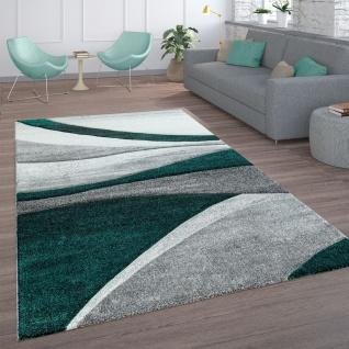 Wohnzimmer-Teppich, Kurzflor Mit Wellen-Muster, In Anthrazit, Grau Und Grün