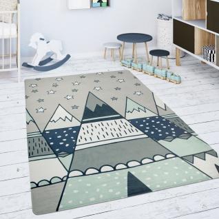 Kinderteppich Teppich Kinderzimmer Spielmatte Sterne Zelt Tipi Motiv Grau Grün