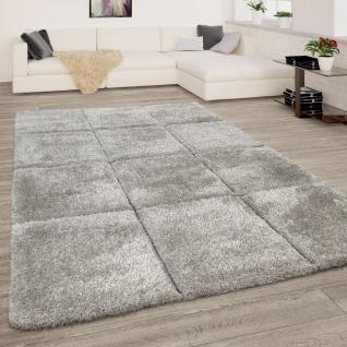 Hochflor Teppich Wohnzimmer Shaggy 3D Effekt Karo Muster Modern Anthrazit