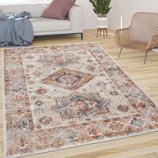 Teppich Wohnzimmer Kurzflor Vintage Orient Muster Mit Bordüre Modern Braun Blau