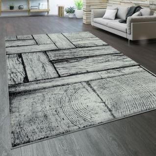 Teppich Wohnzimmer Kurzflor Holz Optik Modern Vintage Grau Schwarz