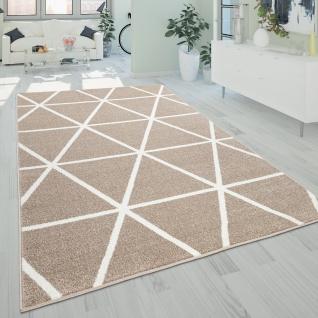 Teppich Wohnzimmer Kurzflor Skandinavischer Stil Rauten Modern Beige Weiß
