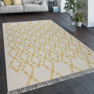 Teppich Wohnzimmer Boho Stil Fransen Handgewebt Woll-Baumwoll Gemisch Gelb Creme
