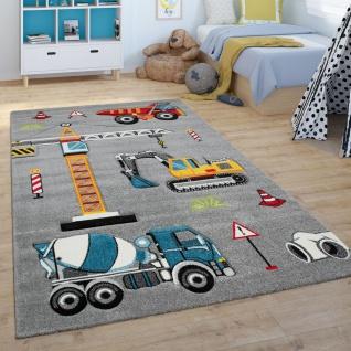 Kinder-Teppich, Spiel-Teppich Für Kinderzimmer, Bagger, Kran, Baustelle, Grau