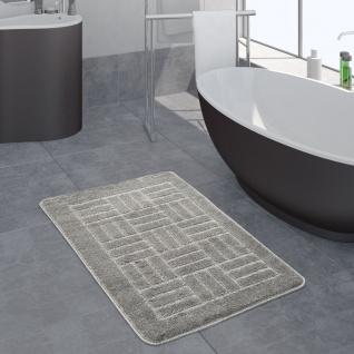 Moderner Badezimmer Teppich Badvorleger Kariertes Muster Einfarbig In Grau