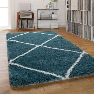 Teppich Wohnzimmer Shaggy Hochflor Einfarbig mit weißem Rauten Muster, Türkis