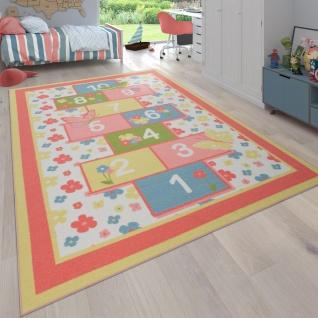Kinderteppich Teppich Kinderzimmer Spielteppich Hüpfkästchen Blumen Muster Rosa Bunt