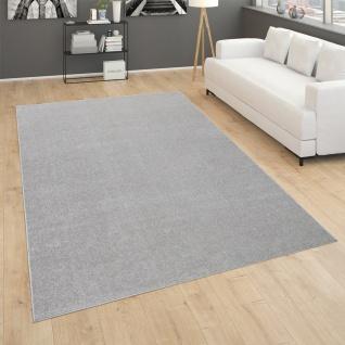 Teppich Für Wohnzimmer Einfarbig Kurzflor Schlicht Und Modern, In Silber