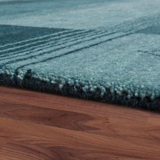 Teppich Handgewebt Gabbeh Hochwertig 100% Wolle Meliert Bordüre Grün Grau - Vorschau 2