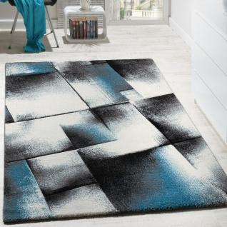 Designer Teppich Wohnzimmer Teppiche Kurzflor Meliert Türkis Grau Creme Schwarz