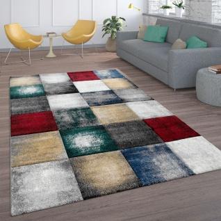 Teppich, Kurzflor-Teppich Für Wohnzimmer, Modernes Karo-Muster, In Bunt