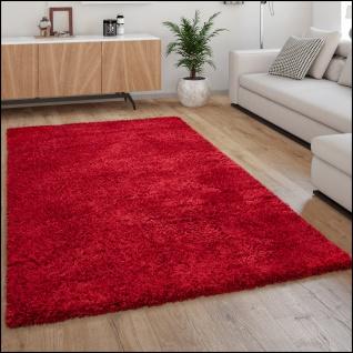Hochflor Teppich Wohnzimmer Shaggy Langflor Weich Modern Einfarbiges Muster Rot