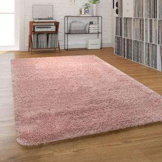 Hochflor-Teppich, Shaggy Waschbar Für Wohnzimmer Und Schlafzimmer, Einfarbig in Rosa