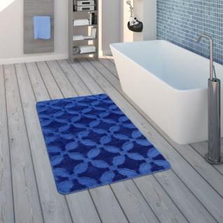 Badematte, Kurzflor-Teppich Für Badezimmer, Rutschfest, In Blau