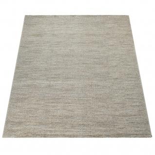 Wohnzimmer-Teppich, Einfarbiger Kurzflor Mit Velours-Gewebe, In Meliertem Beige - Vorschau 4