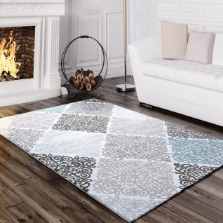 Designer Teppich Edel Barock Design Floral Muster Meliert Grau Türkis