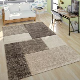Kurzflor Teppich Wohnzimmer Modern Design Mehrfarbig Geometrisch Kariert Braun