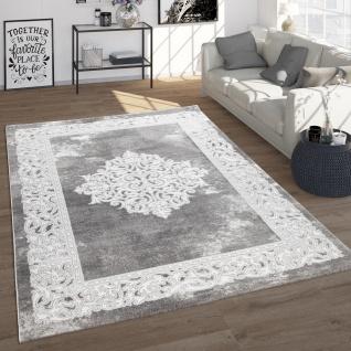 Teppich Wohnzimmer Vintage Orient Stil Mit Ornamenten Kurzflor, Modern In Grau