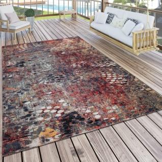In- & Outdoor Teppich Küchenteppich Balkon Terrasse Vintage Abstrakt Rot Blau