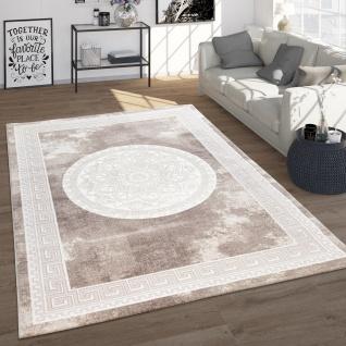 Teppich Wohnzimmer Im Vintage Barock Stil Mit Blumen Muster Kurzflor, In Beige