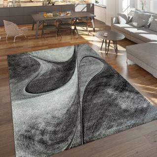 Teppich Wohnzimmer Grau Schlafzimmer Abstraktes Muster Modernes Design Kurzflor