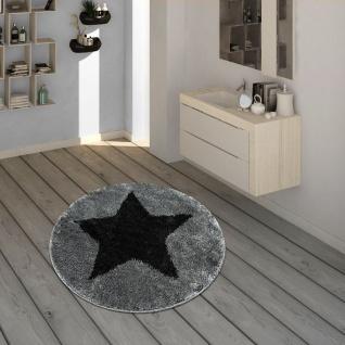 Badematte, Runder Kurzflor-Teppich Für Badezimmer Mit Sternen-Motiv In Schwarz