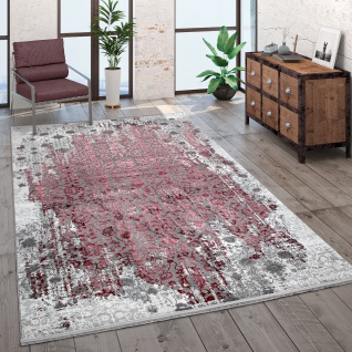 Teppich Wohnzimmer Kurzflor Modern Fransen 3D Effekt Orient Muster Rot Grau