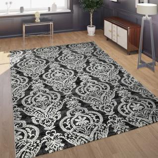 Designer Teppich Moderne Orient Muster 3D Wohnzimmerteppich Anthrazit Grau Weiß