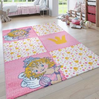 Kinder-Teppich Prinzessin Lillifee, Kurzflor Für Kinderzimmer, Karo in Rosa Weiß
