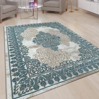 Wohnzimmer-Teppich, Kurzflor-Teppich Mit Orient-Muster, 3D-Look In Türkis