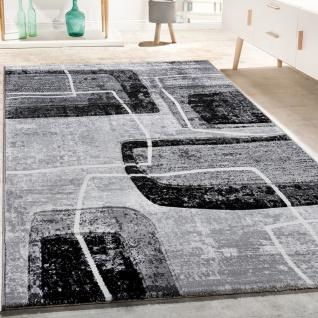 Designer Teppich Konturenschnitt Retro Muster In Grau Schwarz Weiß Meliert