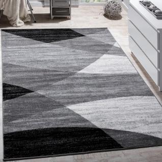 Designer Teppich Modern Geschwungene Wellen Linien Muster Kurzflor Meliert Grau