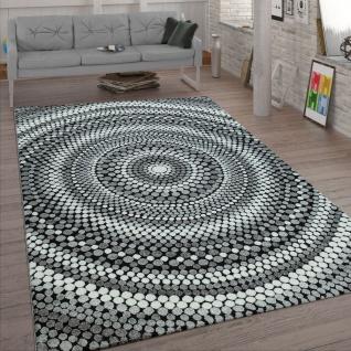 Wohnzimmer-Teppich, Kurzflor Mit Retro-Design, Punkte Kreise, 3-D-Look, In Grau