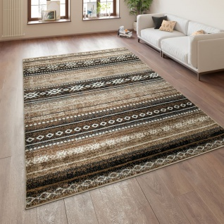 Wohnzimmer Teppich Braun Beige Ethno Design Streifen Orient Muster Kurzflor